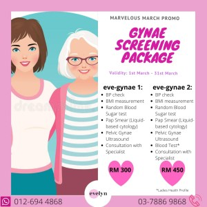 Gynae Screening Package at evelyn Women Specialist Clinic