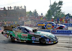 John Force (near lane) and Ron Capps