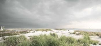 Arkitema og COWI's forslag til strandenge med stisystem ved Søvang.