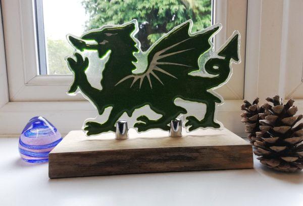 Fused glass dragon - green