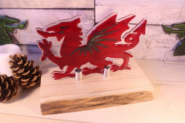 Fused glass dragon - red