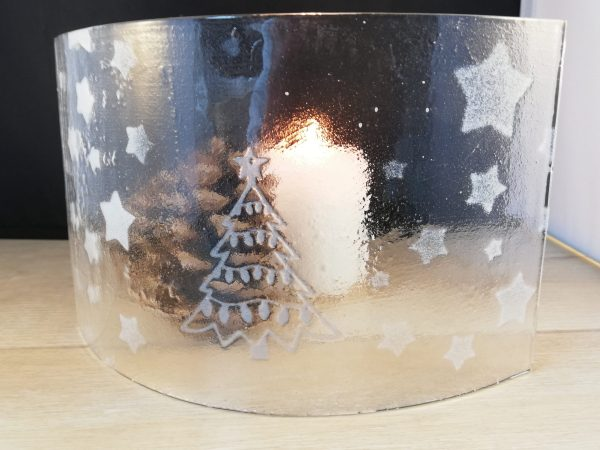 Christmas tree and stars candle screen