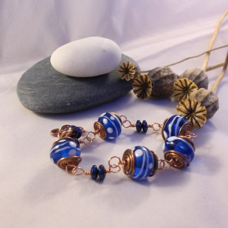Bracelet - blue and white