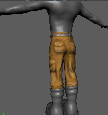 Pants a little too detailed, but gets the point across. Probably better for game texturing.