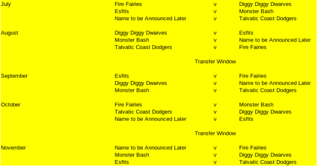 Diggy Christmas 2020 Schedule The Esfah Chroniclers' Summer League 2020 – Teams and Fixtures