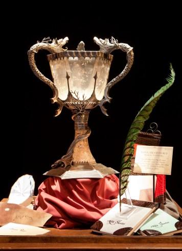 Detalle de vitrina con Vuelapluma y Copa del Torneo de los Tres Magos Harry Potter The Exhibition