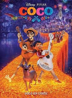 Cartel de la película Coco. Madrid con niños, dragones y unicornios.