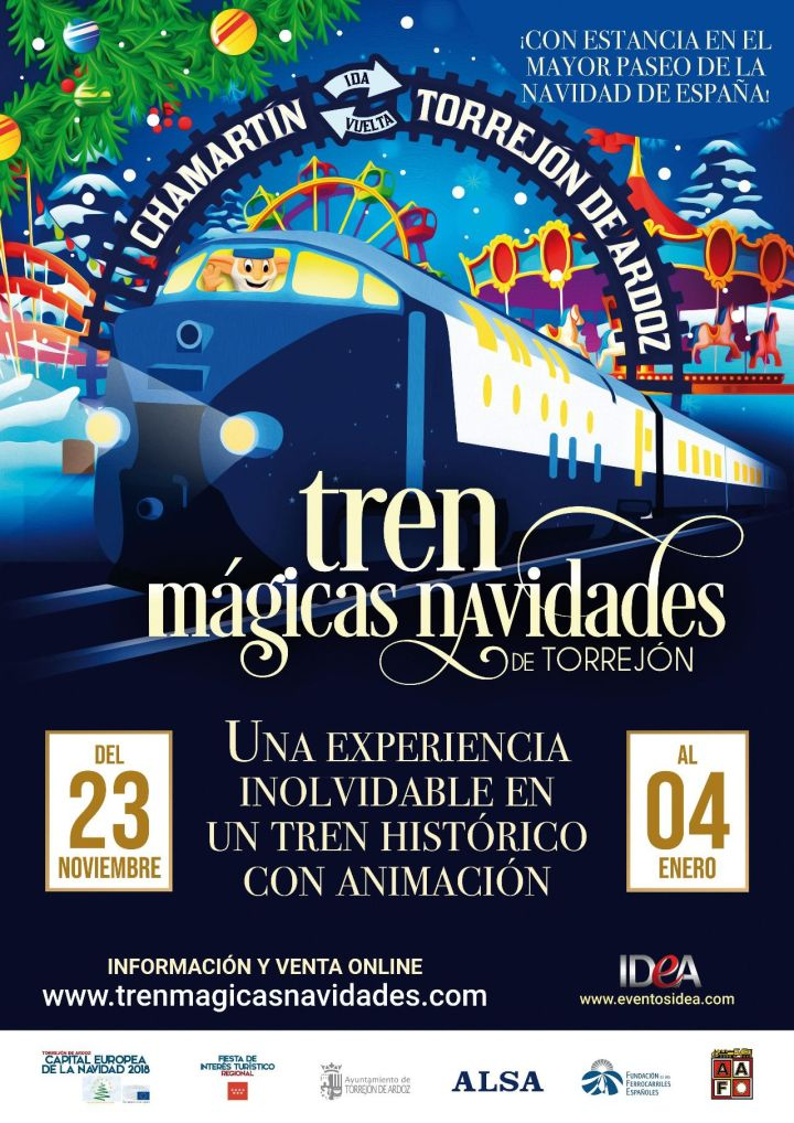 Tren de la Navidad. Madrid con niños, dragones y unicornios.