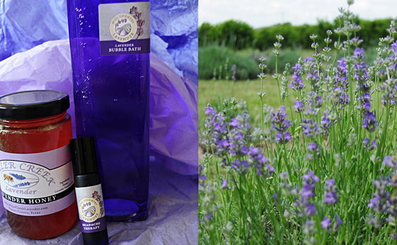 Goodies I brought home: lavender honey, bubble bath, and headache therapy.