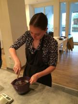 At our cooking class in Nice, mixing up some chocolate lava cake.