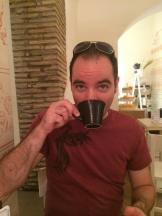 Trying Italian coffee for the first time.