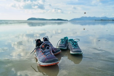Run shoes on sand
