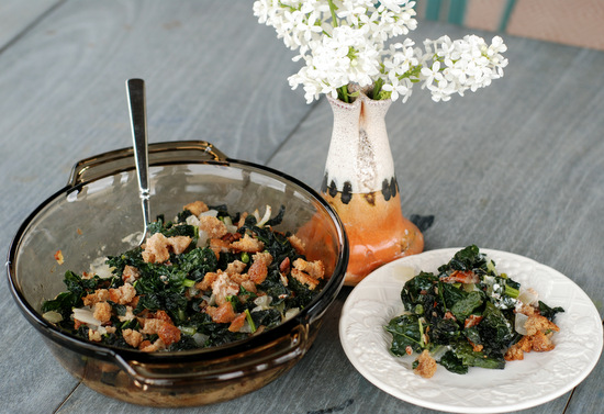 kale and pecan casserole with lilacs