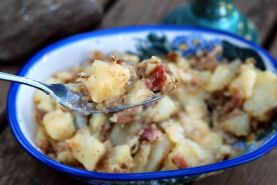 german potato salad with fork