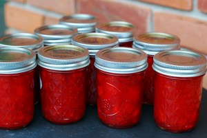 strawberry jam lined up