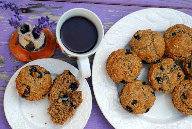 blueberry muffins on purple bench 8