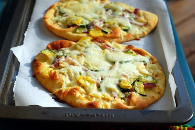 sunshine flatbread pizzas on sheet 2