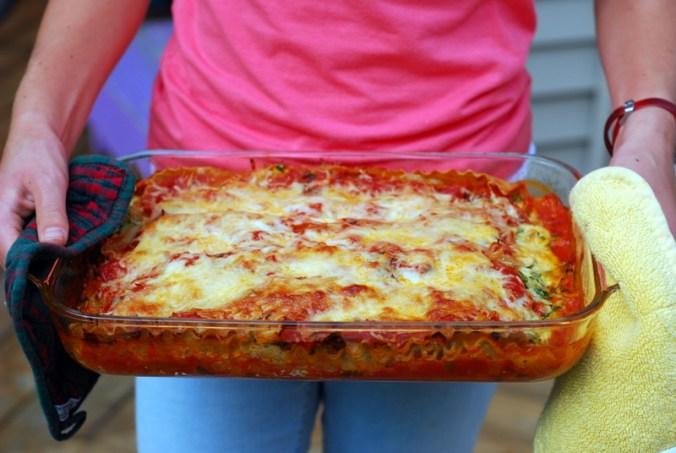 lasagna in tray