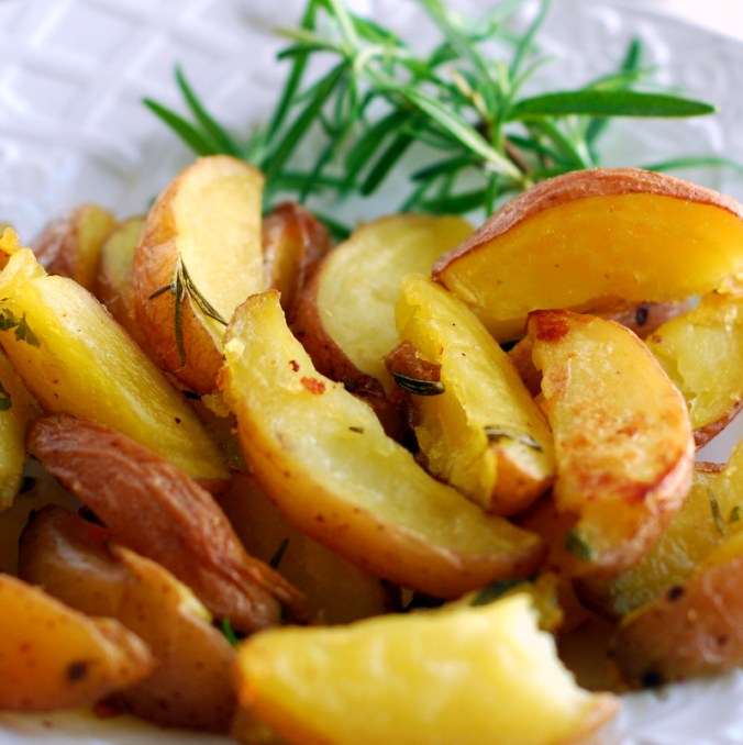 rosemary potatoes on white