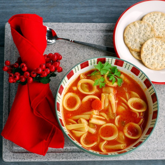 vegetable pasta soup on table