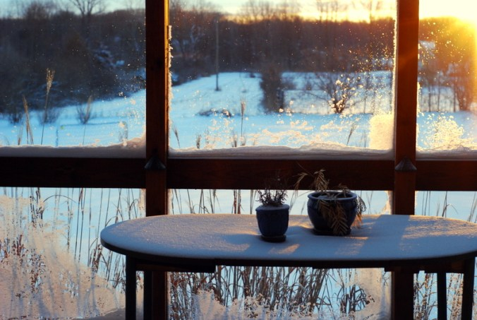 snowy sunrise on porch 2