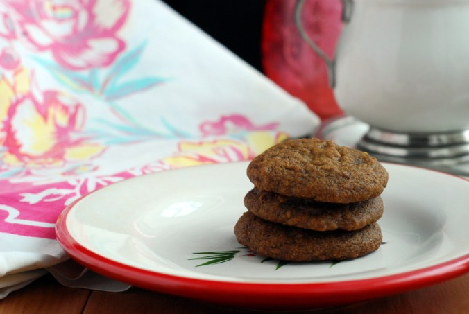 maple molasses cookies stack with dishes
