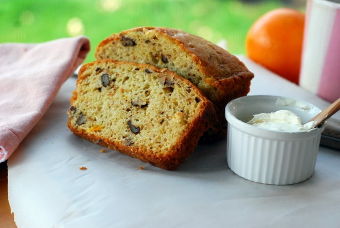 citrus nut bread on porch