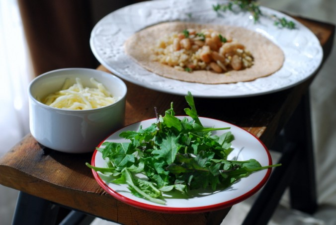 greens, cheese, and white beans