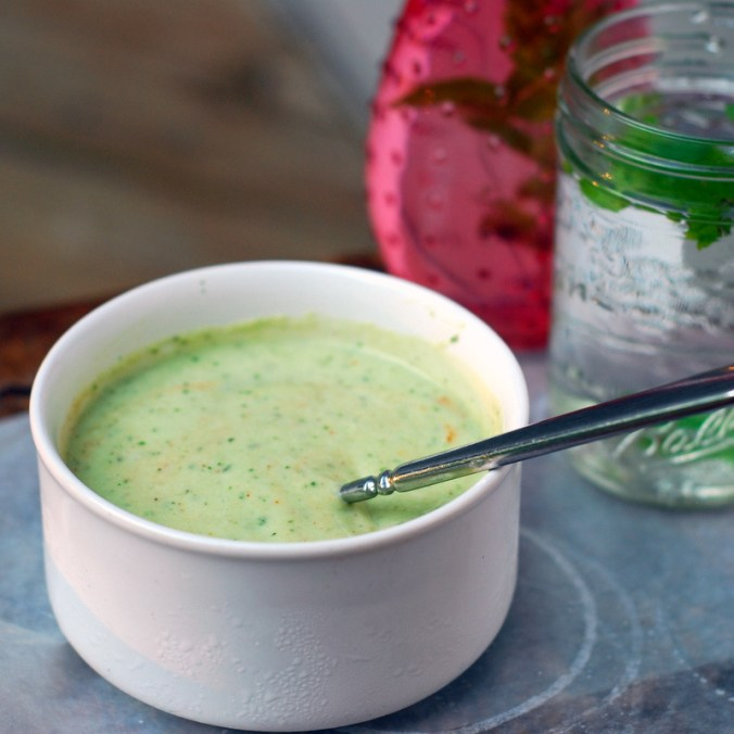 cucumber mint soup with pink vase