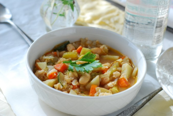 sole minestrone with glass