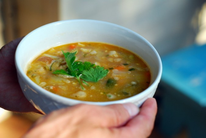 sole minestrone in hands 4