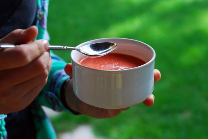 watermelon gazpacho with spoon