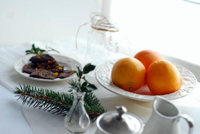 chococlate tea bark and oranges