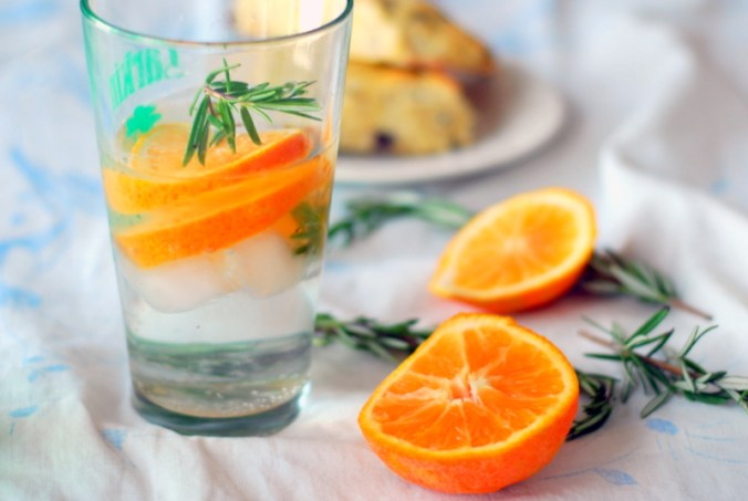 orange rosemary water with scones 2