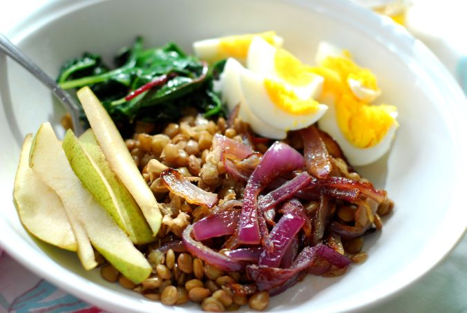 green lentil power bowls 450