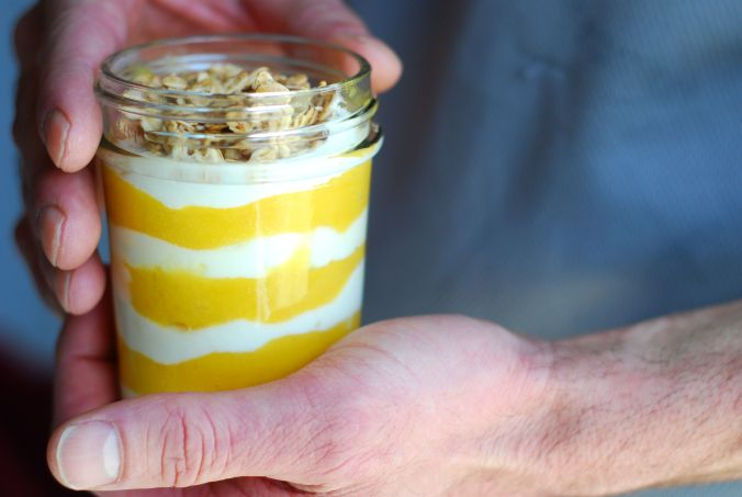 mango banana parfait in hands