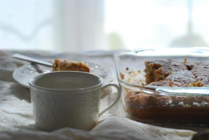 banana cinnamon snack cake and coffee