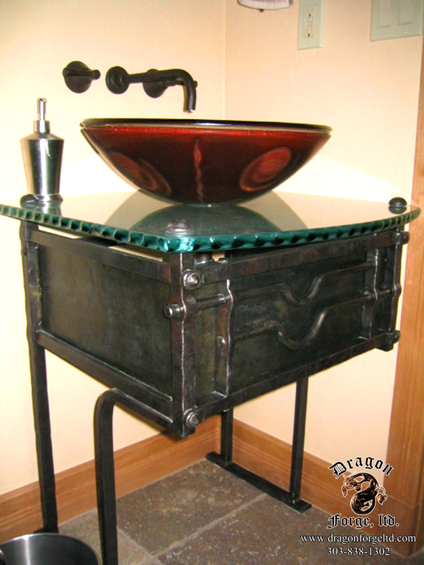 Metal Sink Base  Dragon Forge  Colorado Blacksmith  Custom hand forged archectural ironwork