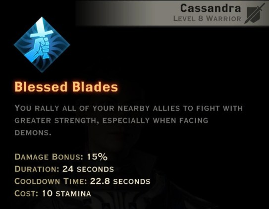 Dragon Age Inquisition - Blessed Blades Templar warrior skill