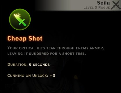 Dragon Age Inquisition - Cheap Shot Sabotage rogue skill