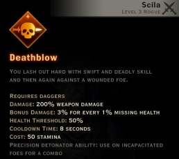 Dragon Age Inquisition - Deathblow Double Daggers rogue skill