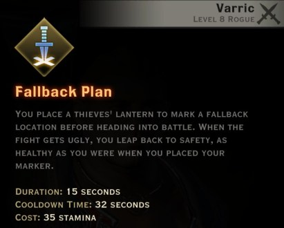 Dragon Age Inquisition - Fallback Plan Artificer rogue skill