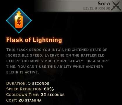 Dragon Age Inquisition - Flask of Lightning Tempest rogue skill