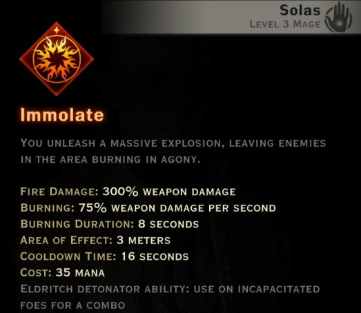 Dragon Age Inquisition - Immolate Inferno mage skill