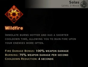 Dragon Age Inquisition - Wildfire Inferno mage skill
