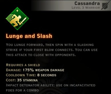 Dragon Age Inquisition - Lunge and Slash Weapon and Shield warrior skill