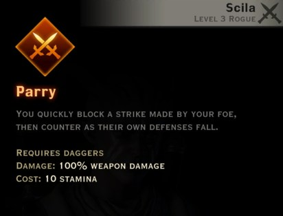 Dragon Age Inquisition - Parry Double Daggers rogue skill