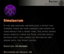 Dragon Age Inquisition - Simulacrum Necromancer mage skill