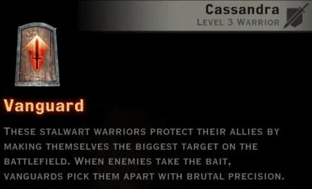 Dragon Age Inquisition - Vanguard warrior skill tree
