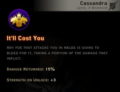 Dragon Age Inquisition - It'll Cost You Vanguard warrior skill